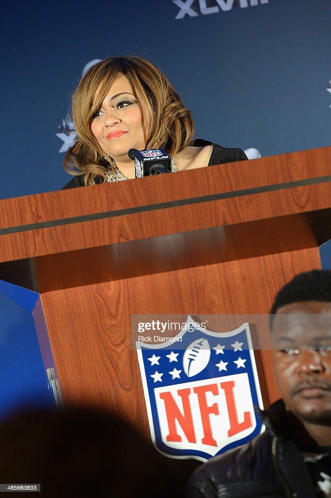 Melanie Few-Harrison speaks at the Super Bowl Gospel Celebration press conference at Super Bowl XLVIII Media Center, Sheraton Times Square on January 30, 2014 in New York City.