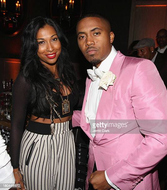 Melanie Fiona and Nas attend Nas 40th Birthday Celebration Dinner And Party at Avenue NYC on September 12, 2013 in New York City.