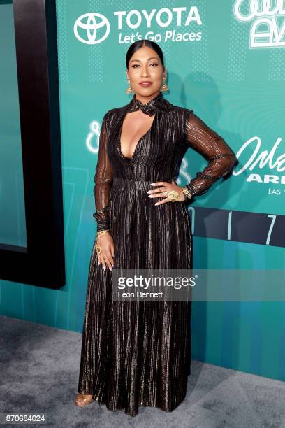 Melanie Fiona attends the 2017 Soul Train Awards presented by BET at the Orleans Arena on November 5 2017 in Las Vegas Nevada