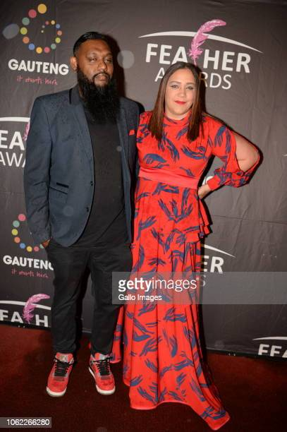 Melanie G Ramjee AKA Hypress and husband during the 10th annual Feather Awards at the Johannesburg City Hall on November 15 2018 in Johannesburg...