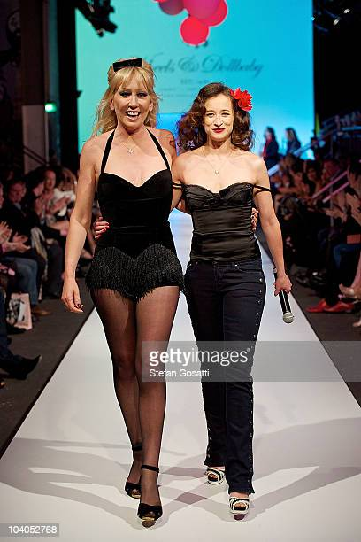 Melanie Greensmith and Leah Wood walk the catwalk at the end of the Wheels & Dollbaby collection catwalk show as part of Perth Fashion Week 2010 at...