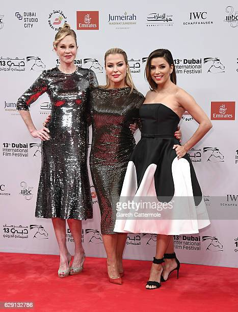 Melanie Griffith Anastacia and Eva Longoria attend the 'Solitaire' red carpet during day five of the 13th annual Dubai International Film Festival...
