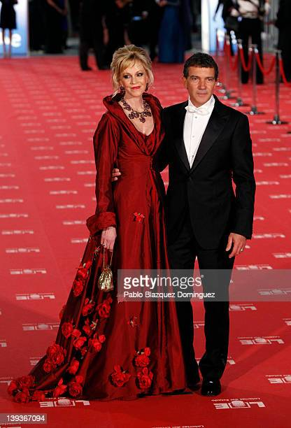 Melanie Griffith and Antonio Banderas arrives to Goya Cinema Awards 2012 ceremony at the Palacio Municipal de Congresos on February 19 2012 in Madrid...