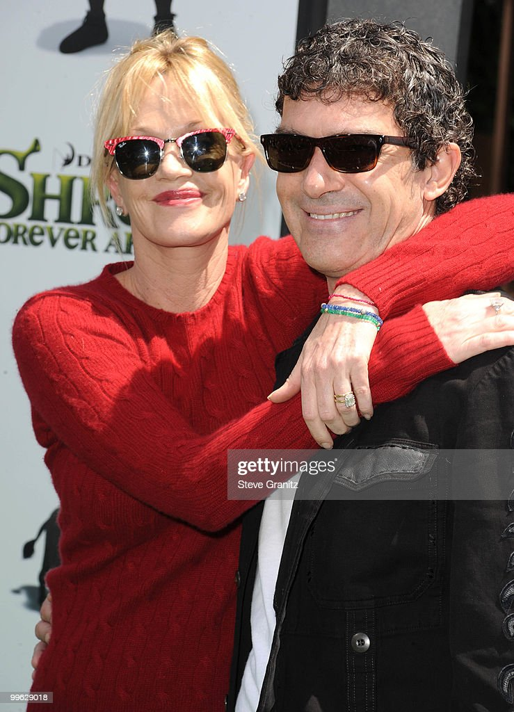 Melanie Griffith and Antonio Banderas attends the 'Shrek Forever After' Los Angeles Premiere at Gibson Amphitheatre on May 16, 2010 in Universal City, California.
