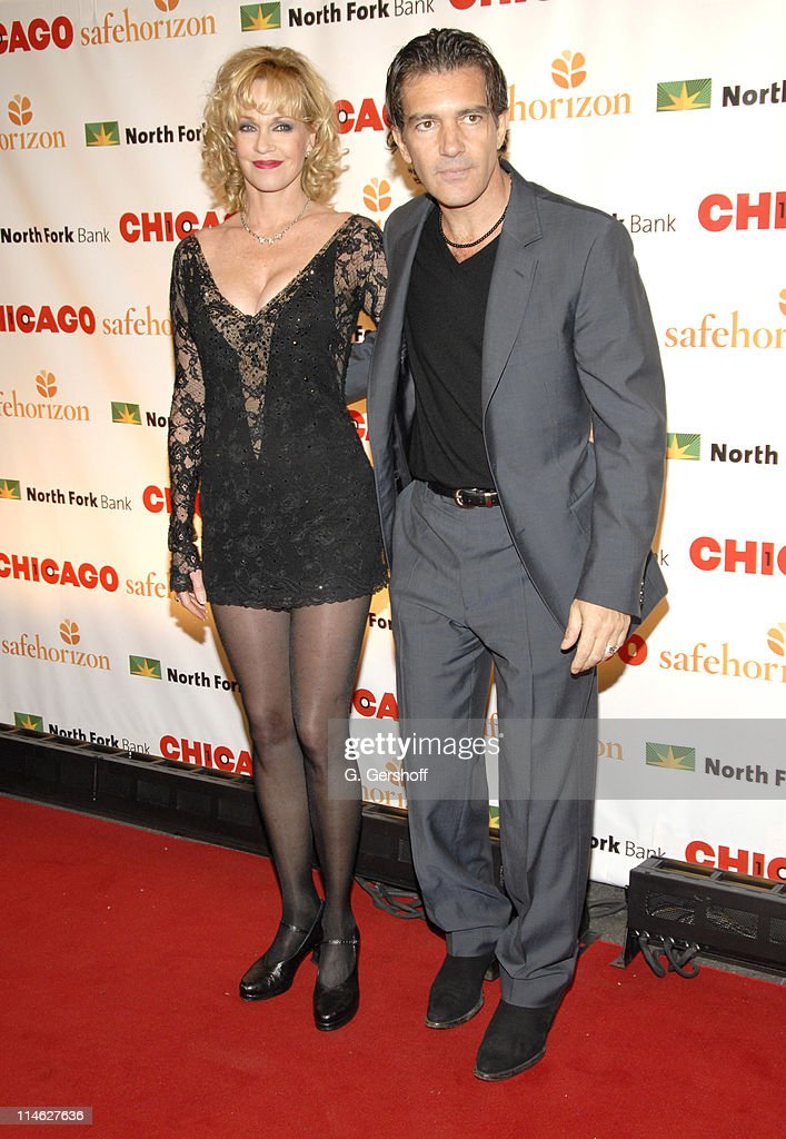 Melanie Griffith and Antonio Banderas during Chicago the Musical Celebrates its 10th Anniversary on Broadway - Arrivals at Ambassador Theater in New York City, New York, United States.
