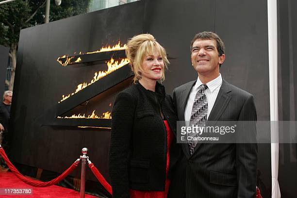 Melanie Griffith and Antonio Banderas during Columbia Pictures' 'The Legend of Zorro' Los Angeles Premiere at Orpheum Theater in Los Angeles...