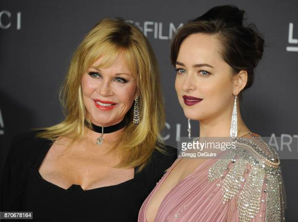 Melanie Griffith and Dakota Johnson arrive at the 2017 LACMA Art Film Gala honoring Mark Bradford and George Lucas at LACMA on November 4 2017 in Los...