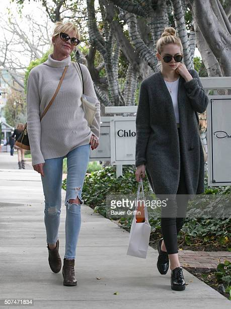 Melanie Griffith and daughter Stella are seen on January 29 2016 in Los Angeles California