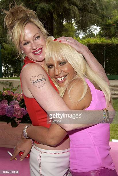 Melanie Griffith and Donatella Versace during Versace Luncheon to Benefit Children's Action NetworkWestside Children's Center Sponsored By InStyle...