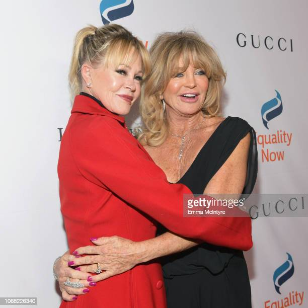 Melanie Griffith and Goldie Hawn attend Equality Now's Make Equality Reality Gala 2018 at The Beverly Hilton Hotel on December 3 2018 in Beverly...