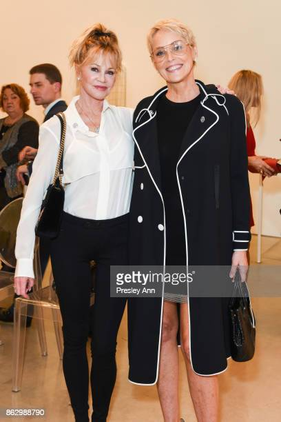 Melanie Griffith and Sharon Stone attend VIP Conversation for Women's Brain Health Initiative Hosted by Sharon Stone at Gagosian Gallery on October...
