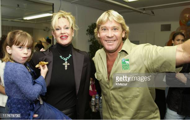 Melanie Griffith and Steve Irwin during Nickelodeon's 15th Annual Kids Choice Awards - Backstage at Barker Hangar in Santa Monica, California, United...