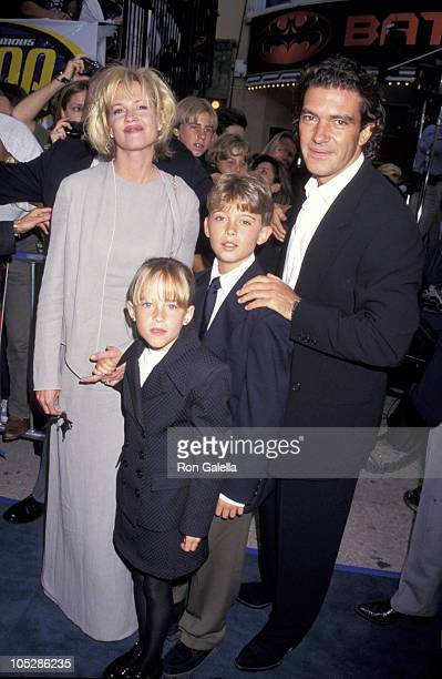 Melanie Griffith Antonio Banderas and family during Batman Robin Los Angeles Premiere at Mann's Bruin Theater in Westwood California United States