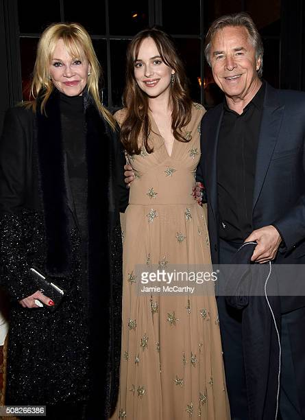 Melanie Griffith Dakota Johnson and Don Johnson attend the after party for the New York premiere of 'How To Be Single' at the Bowery Hotel on...