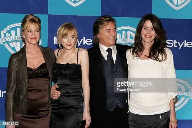 Melanie Griffith Dakota Johnson Don Johnson and Kelley Phleger arrive at the Warner Bros/InStyle Golden Globe after party held at the Oasis at the...