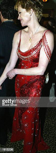 Melanie Griffith in Versace arrives at the Opening Night Party for The Roundabout Theater Company Production of Nine at The China Club on April 10...