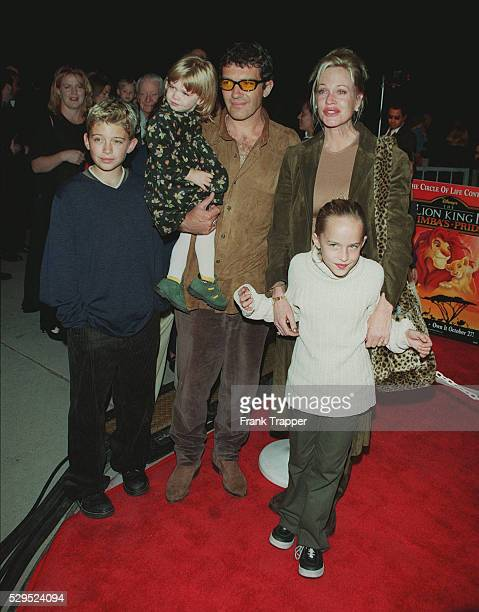 Melanie Griffith with Antonio Banderas their daughter Stella and her children Alexander and Dakota