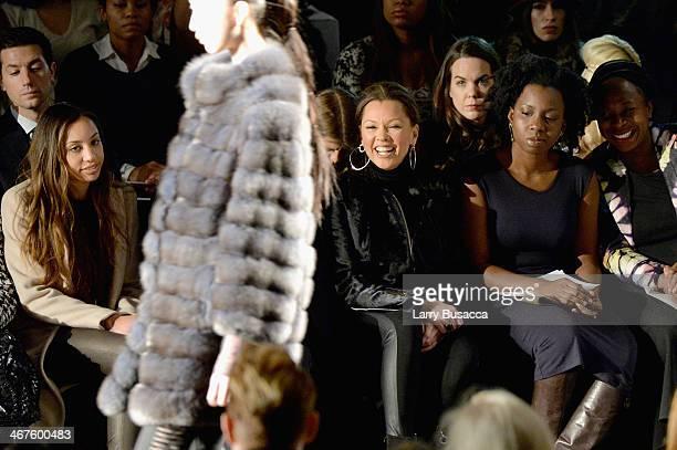 Melanie Hervey Vanessa Williams and Adepero Oduye attend Carmen Marc Valvo fashion show during MercedesBenz Fashion Week Fall 2014 at The Salon at...