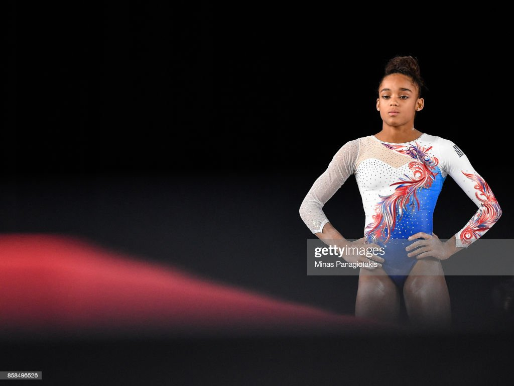 Melanie Jesus De Dos Santos of France looks on as she prepares to compete on the balance beam during the women's individual all-around final of the Artistic Gymnastics World Championships on October 6, 2017 at Olympic Stadium in Montreal, Canada.
