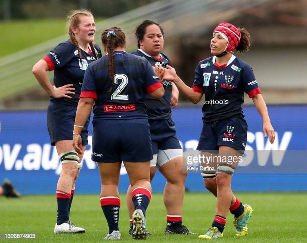 Melanie Kawa of the Rebels reacts with team mates during the Super W match between the Melbourne Rebels and the ACT Brumbies at Coffs Harbour...
