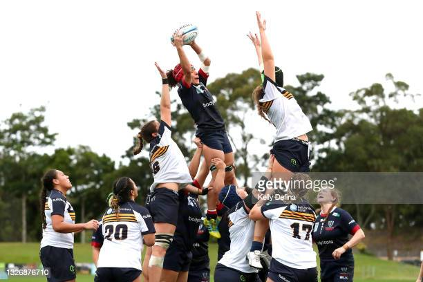 Melanie Kawa of the Rebels wins a line-out ball during the Super W match between the Melbourne Rebels and the ACT Brumbies at Coffs Harbour...