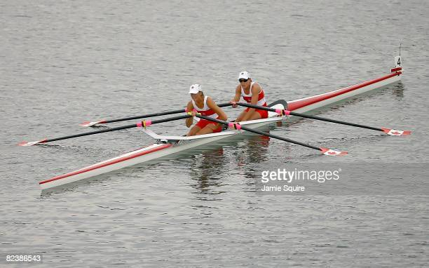 Melanie Kok and Tracy Cameron of Canada are pictured after the Lightweight Women's Double Sculls Final at the Shunyi Olympic Rowing-Canoeing Park...