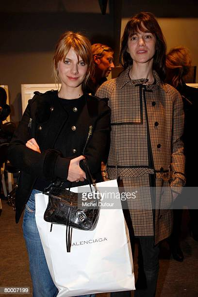 Melanie Laurent and Charlotte Gainsbourg attend the Balenciaga Fashion show during Paris Fashion Week Fall/Winter 20082009 Ready to Wear collections...