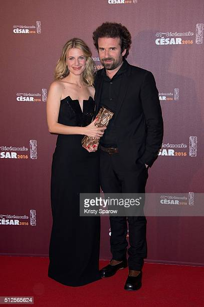 Melanie Laurent and Cyril Dion pose with their award for Best Documentary for the film 'Demain' during The Cesar Film Awards 2016 at Theatre du...
