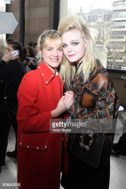 Melanie Laurent and Elle Fanning attend the Miu Miu show as part of the Paris Fashion Week Womenswear Fall/Winter 2018/2019 on March 6 2018 in Paris...