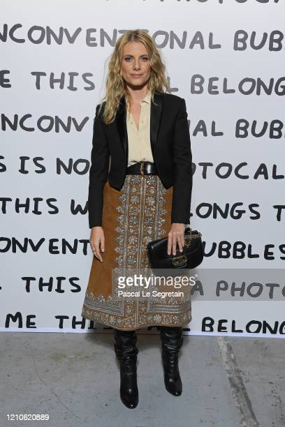 Melanie Laurent attends the Ruinart & David Shrigley - Unconventional Bubbles Exhibition photocall at Opera Bastille on March 05, 2020 in Paris,...