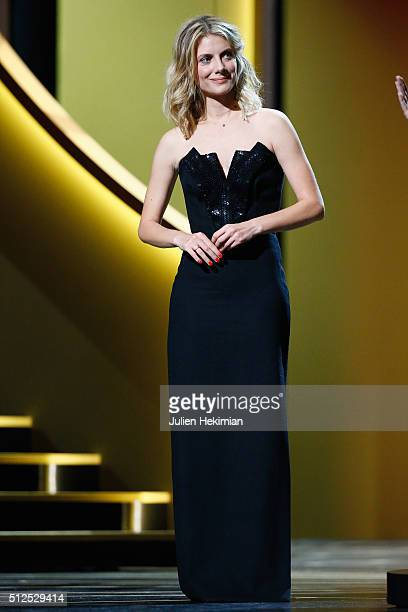 Melanie Laurent receives the award of the best documentary for 'Demain' during The Cesar Film Award 2016 at Theatre du Chatelet on February 26 2016...