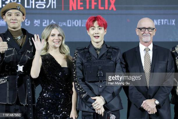 Melanie Laurent Su ho aka Suho of boy band EXO and Ian Bryce attend the world premiere of Netflix's '6 Underground' at Dongdaemun Design Plaza on...