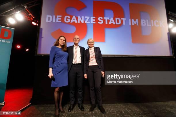 Melanie Leonhard, leader of the Hamburg-SPD , Peter Tschentscher, mayor of the northern German City of Hamburg and his wife Eva-Maria Tschentscher...