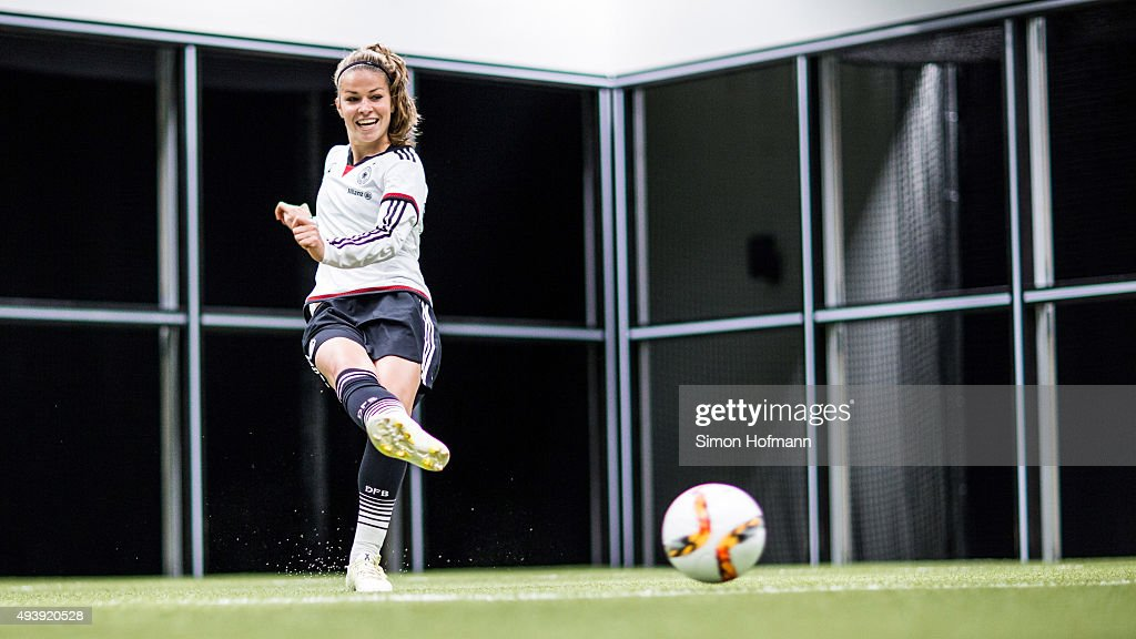 Melanie Leupolz attends a Germany Women's Footbonaut Training Session at on October 23, 2015 in Zuzenhausen, Germany.