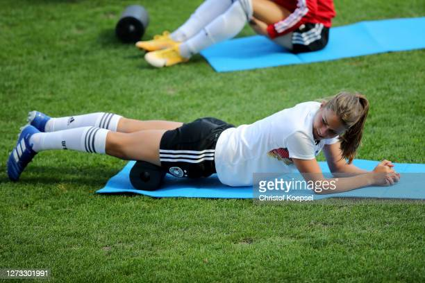 Melanie Leupolz attends a Germany Women's training session at Stadion Essen on September 18 2020 in Essen Germany