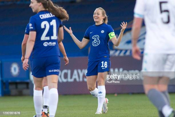 Melanie Leupolz celebrates after scoring during the 2020-21 FA Womens Cup fixture between Chelsea FC and London City at Kingsmeadow on April 16, 2021...