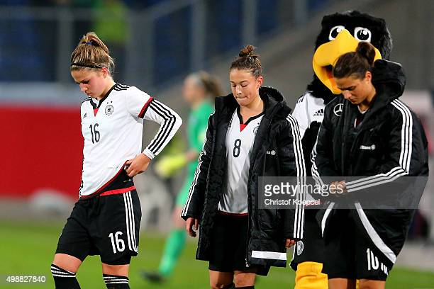 Melanie Leupolz Felicitas Rauch and Dzsenifer Marozsan of Germany look dejected after the Women's International Friendly match between Germany and...