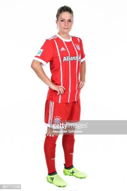Melanie Leupolz of Bayern Muenchen poses during the Allianz Frauen Bundesliga Club Tour at FC Bayern Muenchen Campus on August 20 2017 in Munich...
