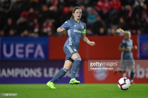 Melanie Leupolz of Bayern Munich plays the ball during the UEFA Women's Champions League Quarter Final Second Leg match between Bayern Munich and...