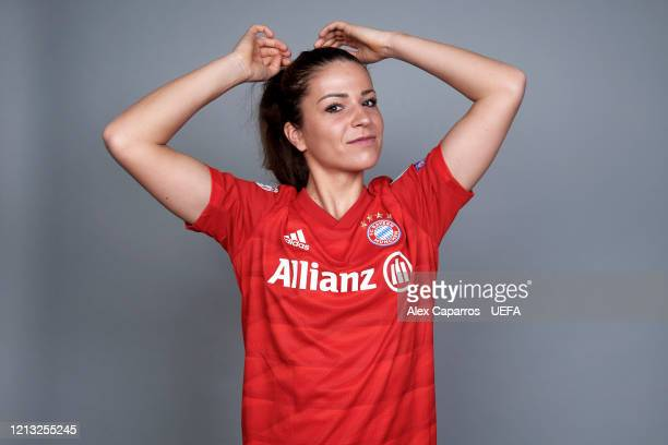 Melanie Leupolz of Bayern Munich poses during the UEFA Women's Champions League Portrait Shoot on February 17 2020 in Munich Germany