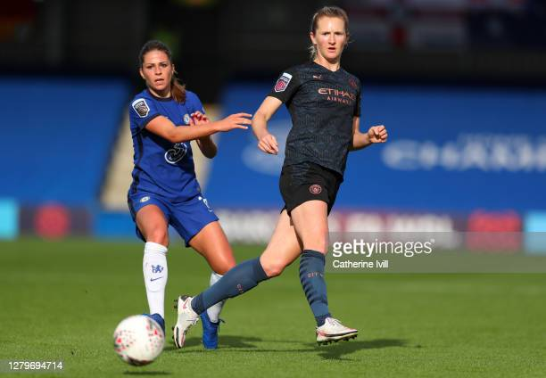 Melanie Leupolz of Chelsea and Sam Mewis of Manchester City during the Barclays FA Women's Super League match between Chelsea Women and Manchester...