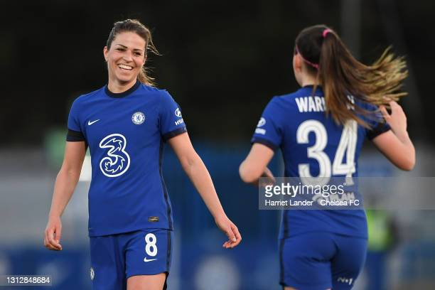 Melanie Leupolz of Chelsea celebrates with teammate Charlotte Wardlaw after scoring her team's third goal during the Vitality Women's FA Cup Fourth...