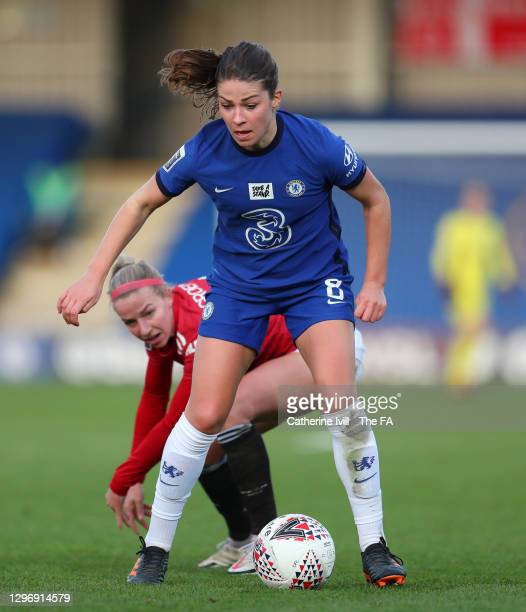 Melanie Leupolz of Chelsea gets past Jackie Groenen of Manchester United during the Barclays FA Women's Super League match between Chelsea Women and...
