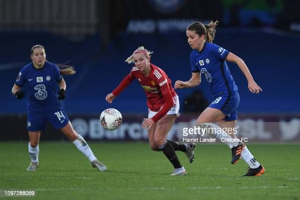 Melanie Leupolz of Chelsea is challenged by Jackie Groenen of Manchester United during the Barclays FA Women's Super League match between Chelsea...