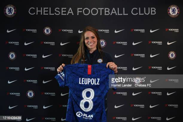 Melanie Leupolz of Chelsea poses for a photo as she signs for Chelsea FC Women at Stamford Bridge on March 23 2020 in London England