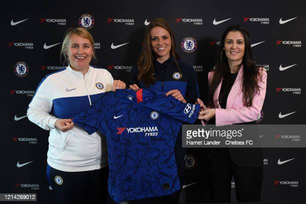 Melanie Leupolz of Chelsea poses for a photo with Emma Hayes Manager of Chelsea and Marina Granovskaia Director of Chelsea as she signs for Chelsea...