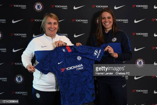 Melanie Leupolz of Chelsea poses for a photo with Emma Hayes Manager of Chelsea as she signs for Chelsea FC Women at Stamford Bridge on March 23 2020...