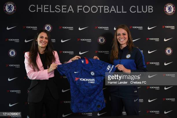 Melanie Leupolz of Chelsea poses for a photo with Marina Granovskaia Director of Chelsea as she signs for Chelsea FC Women at Stamford Bridge on...