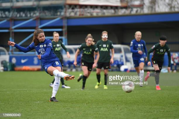 Melanie Leupolz of Chelsea scores a penalty for her team's fourth goal during the Barclays FA Women's Super League match between Chelsea Women and...