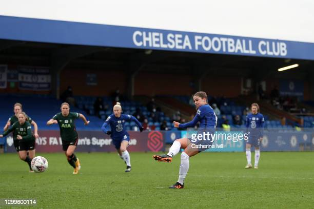 Melanie Leupolz of Chelsea scores their side's fourth goal from the penalty spot during the Barclays FA Women's Super League match between Chelsea...